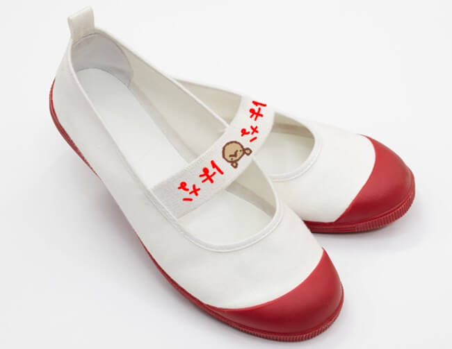 上靴にワッペンを付ける例
