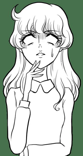 昔の少女漫画風イラスト:色なしの白目