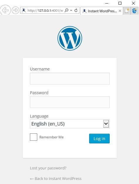 InstantWordPressのログイン画面
