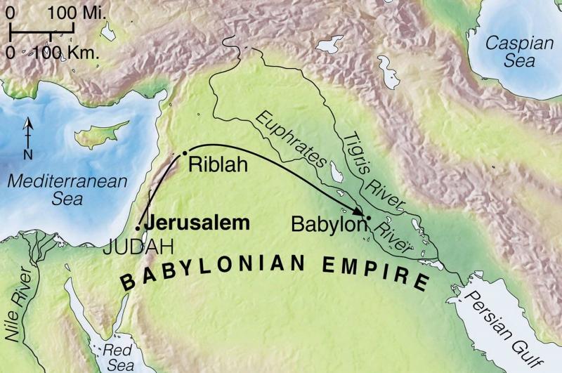 Verschleppung der besiegten Judäer nach Babylon (© Tyndale House Publishers)