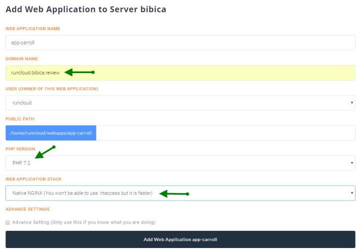 Runcloud Add Web Application
