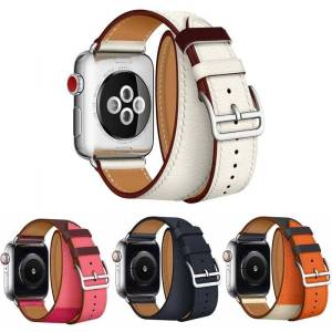 Bracelet double tour pour Apple Watch en Cuir