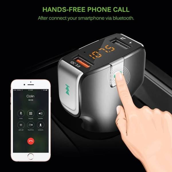 Kit mains libres voiture Transmetteur FM Bluetooth et Chargeur USb bibitech.net