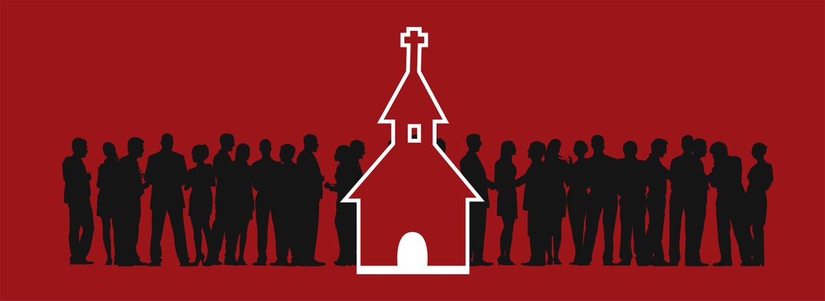 banner or a church with people