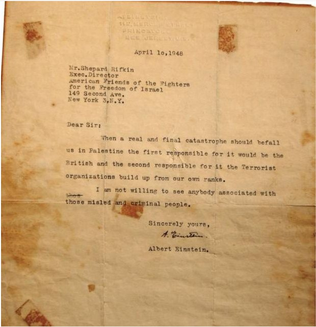 letter from Albert Einstein