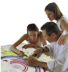 family looking at Amazing Bible Timeline with World History