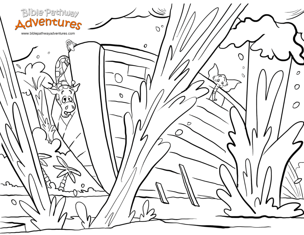 Free Bible Story Coloring Page Noah S Ark The Flood