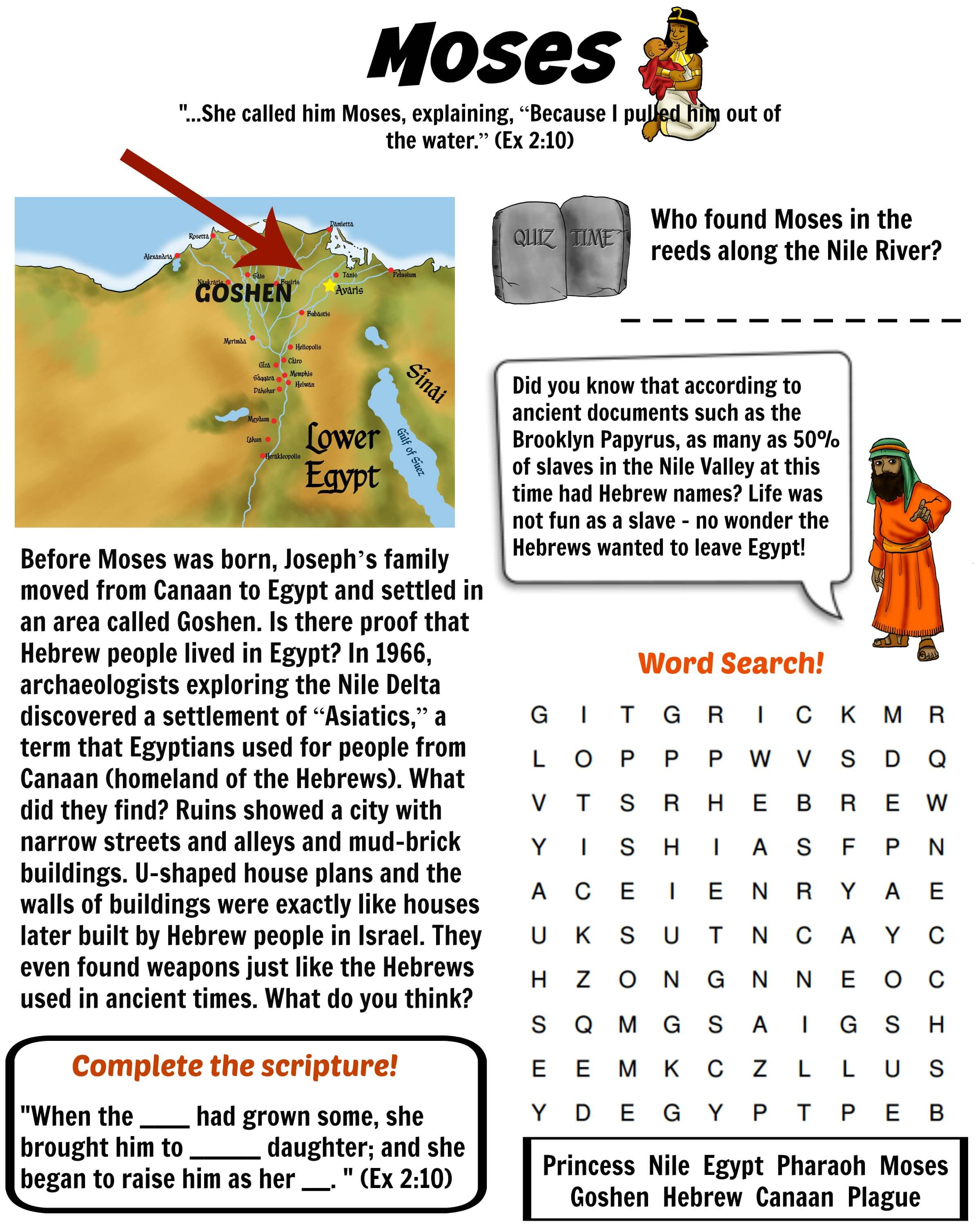 Story Moses Map Worksheet