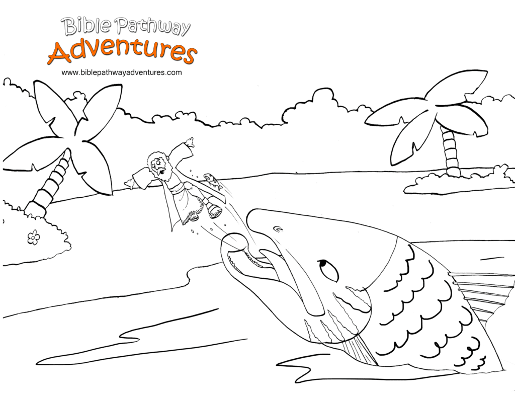 Jonah And The Big Fish Coloring Page