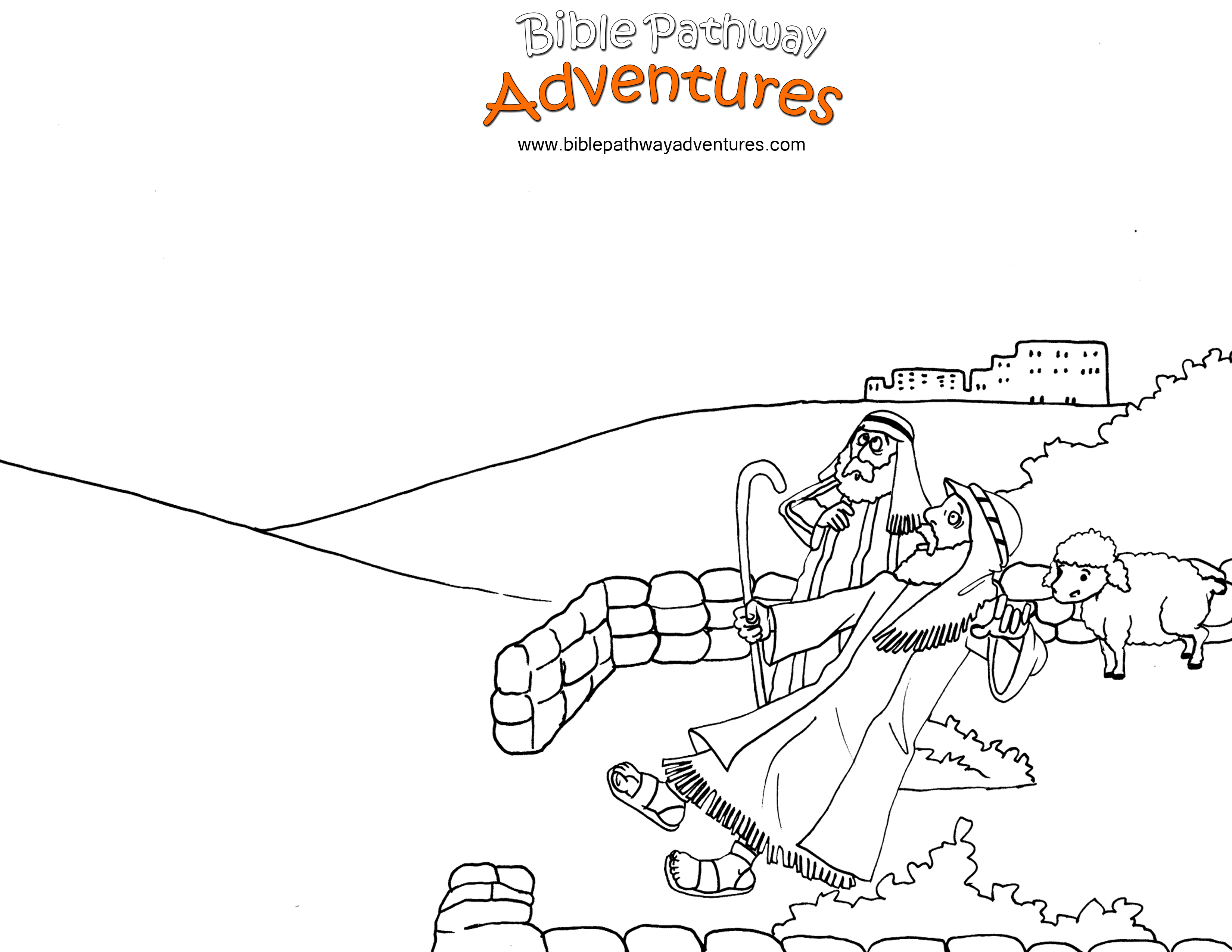 Free Christian Coloring Page Yeshua Jesus Birth Shepherds