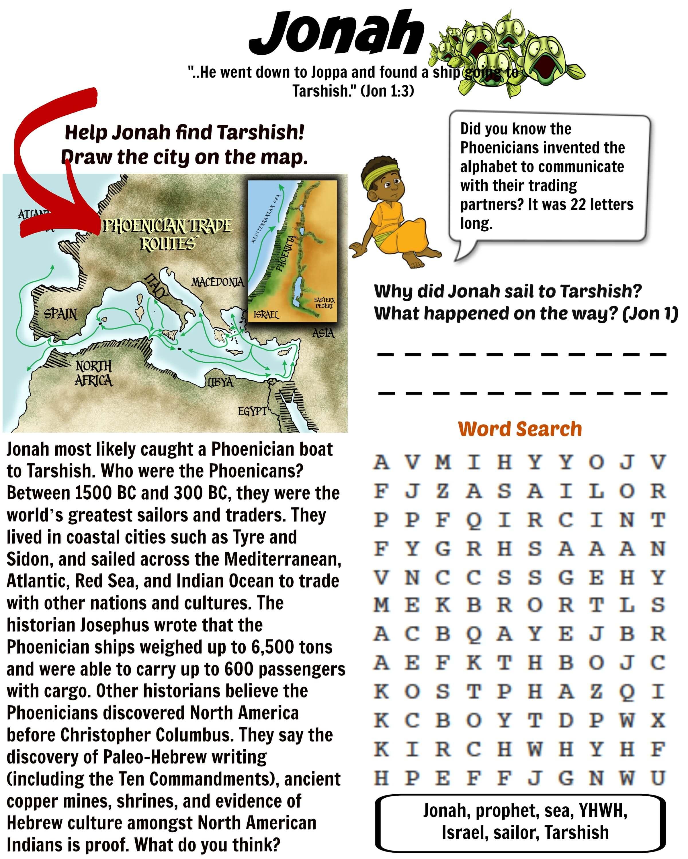 Free Printable Bible Worksheet Jonah Tarshish 9 Wk Bible