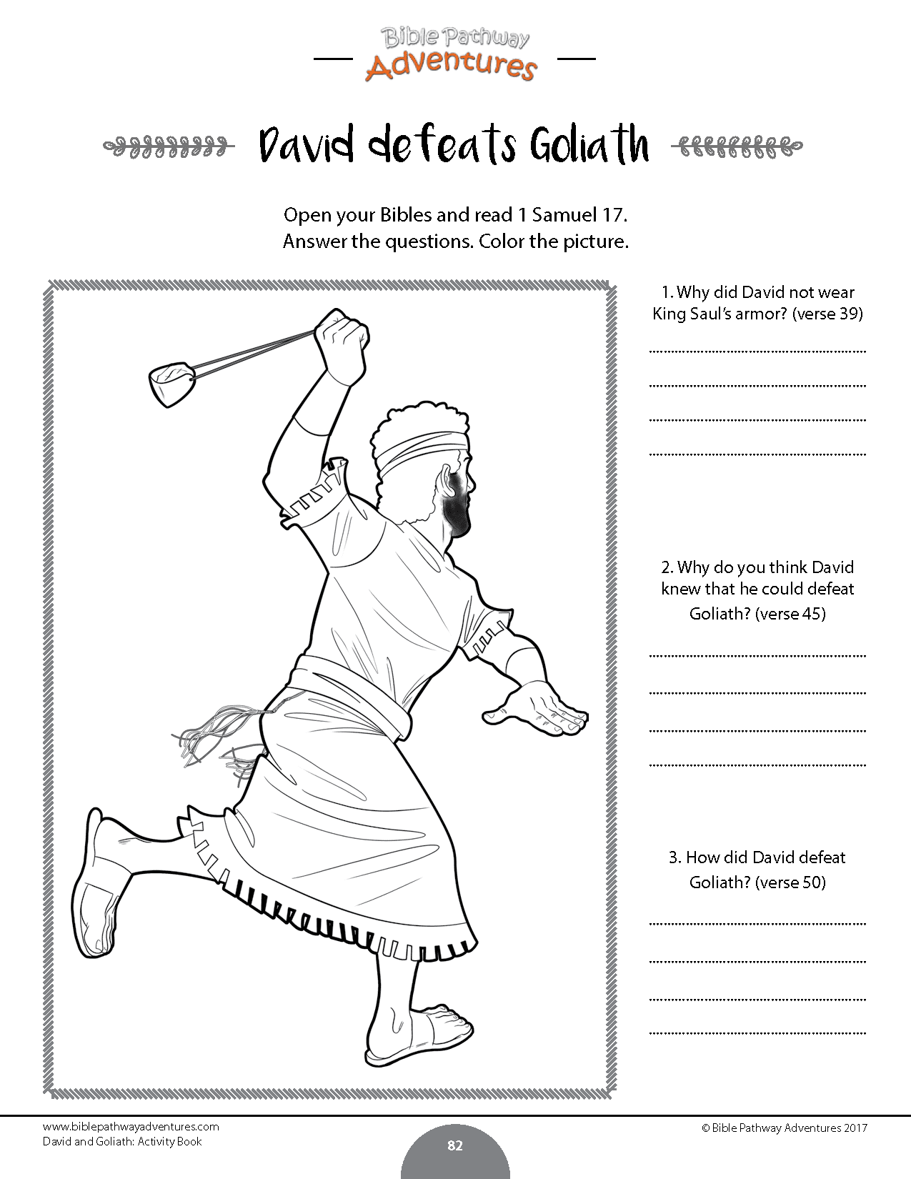 David Amp Goliath Activity Book Kids Ages 6 12 Bible
