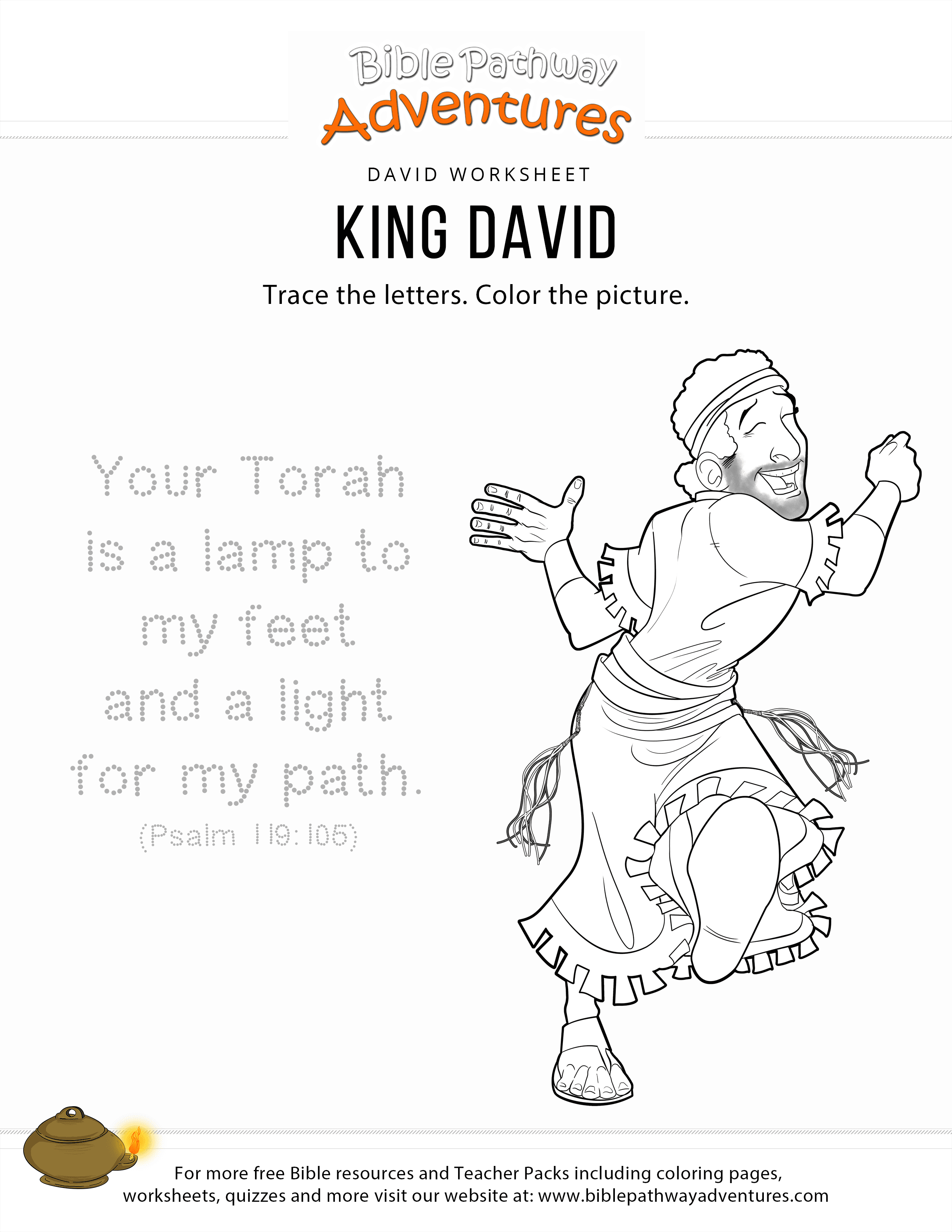 King David Copy And Coloring Page Bible Pathway Adventures