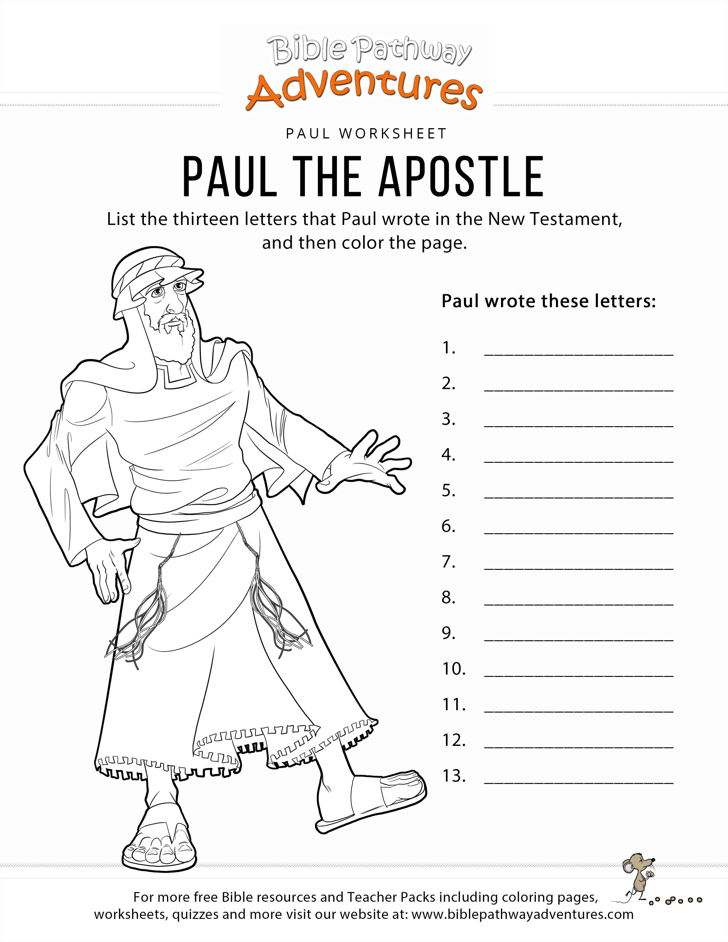 Paul The Apostle Worksheet Amp Coloring Page Bible Pathway Adventures