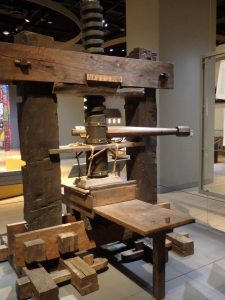 Replica of Gutenberg Printing Press, Museum of the Bible, Washington, D. C.