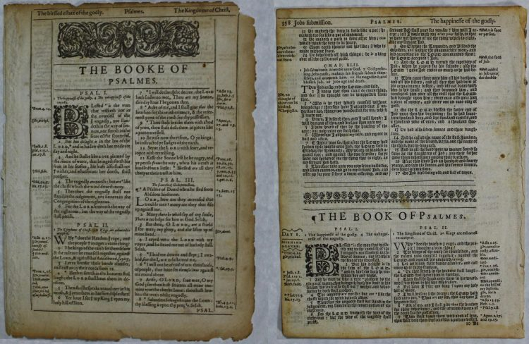 Psalms Title Pages, King James Version, printed before 1650