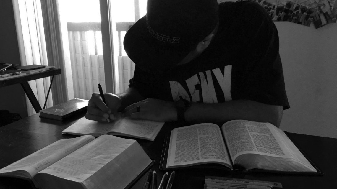 LaRosa studying the Bible