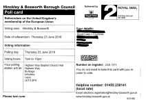 Referendum on the United Kingdom's membership of the European Union -Image of official Brexit Voting Notification Card - Wasted on me!