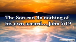 """Thought for April 13th. """"THE SON CAN DO NOTHING OF HIS OWN ACCORD"""""""