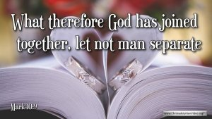 """Thought for August 15th. """"WHAT THEREFORE GOD HAS JOINED TOGETHER"""""""