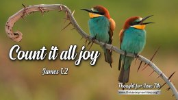 """Daily Readings & Thought for June 7th. """"COUNT IT ALL JOY … WHEN"""""""