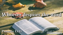 "Daily Readings & Thought for April 3rd. ""WHOEVER DESPISES THE WORD"""