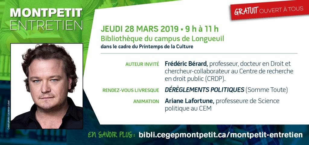 Frédéric Bérard invité du «Montpetit entretien» ce jeudi