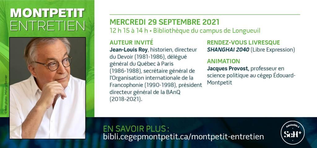 """Jean-Louis Roy est le prochain invité des """"Montpetit entretien"""""""
