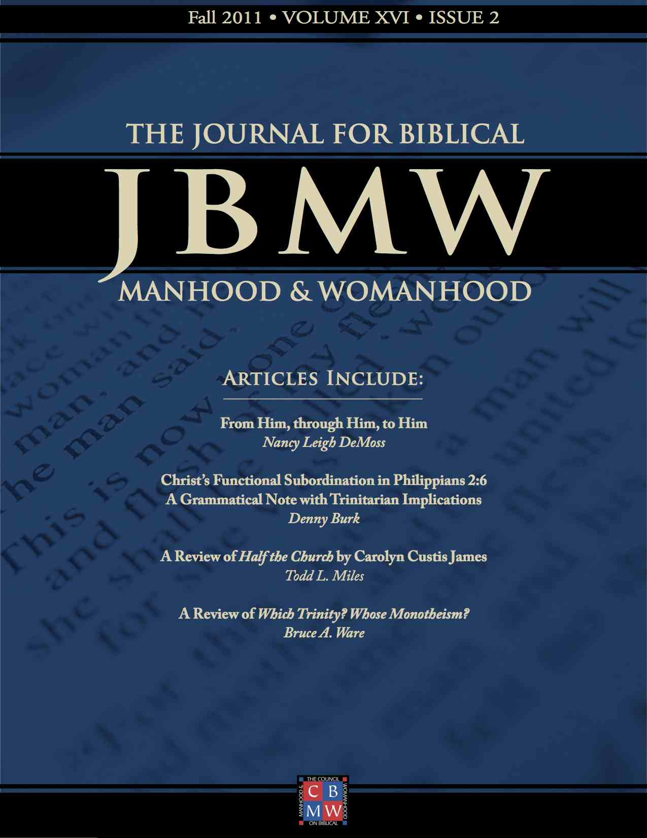 Journal for Biblical Manhood and Womanhood table of contents available 1