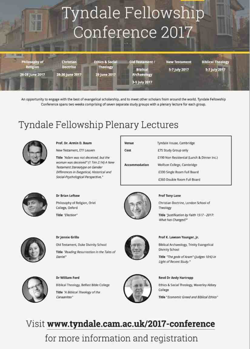 Book Now For Tyndale Fellowship Conference 2017