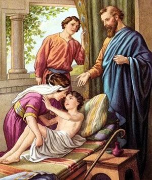 Elisha raising the Shunammites Son. Source: Wikipedia