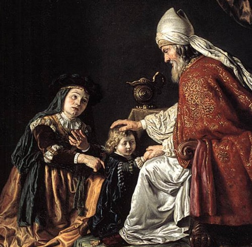 Hannah presenting Samuel to Eli, by Jan Victors, 1645.