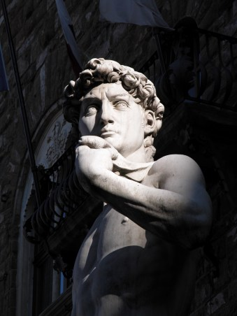 marble replica of Michelangelo Buonarroti's masterpiece David statue in the Piazza della Signoria in Florence Italy