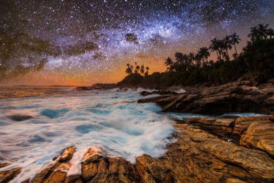 Tropical Beach With Palm Trees Under Starry Sky With Milky Way.