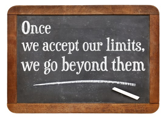 once we accept our limits, we go beyond them - a quote from Albe