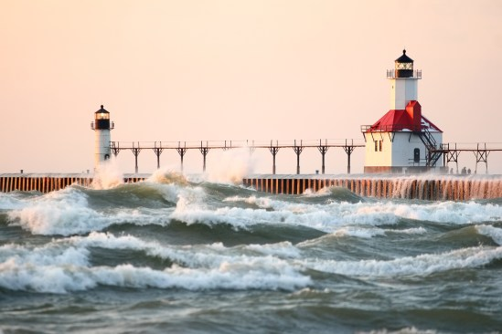 St Joseph North Pier Lighthouse at sunset (focus is on the light