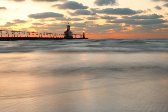 St Joseph, Michigan, North Pier Lighthouse at sunset, long expos