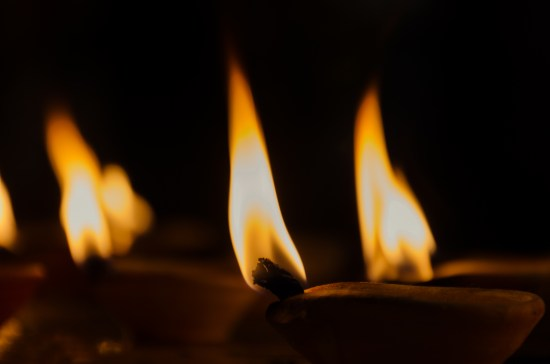 Sacred Fire - Oil Candles Inside Hindu Temple.