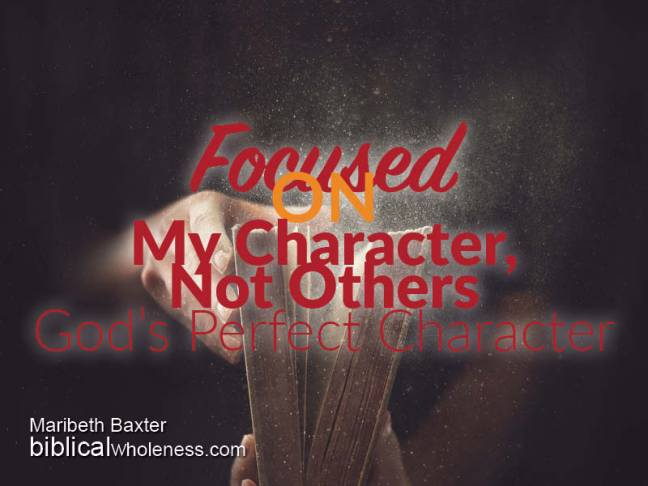 focused on my character, not others, God's perfect character