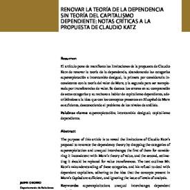 Renovar la teoría de la dependencia sin teoría del capitalismo dependiente: notas críticas a la propuesta de Claudio Katz