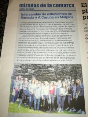 Alumnos deI Intercambio en la prensa de Malpica