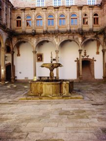 This fountain and courtyard were originally the kitchen courtyard for the hospital. This is the oldest fountain on the property.