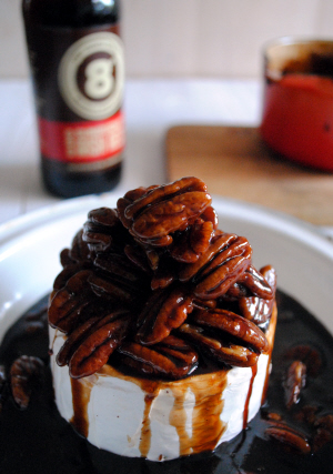 Bibliocook.com - Baked Irish Brie with Sunburnt Red Ale Caramel and Pecans