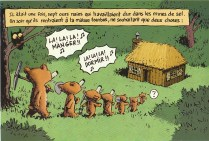 Une planche d'un des volumes de la série des Sept ours nains par Emile Bravo, au Seuil jeunesse.