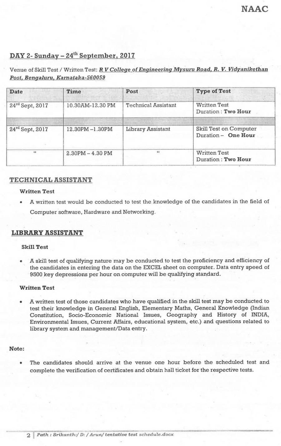 Time Schedule of Skill/Written Test for the Assistant