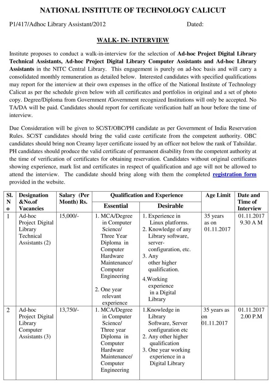 Notification-NIT-Calicut-Project-Digital-Library-Technical-Computer-Library-Asst-Posts-1