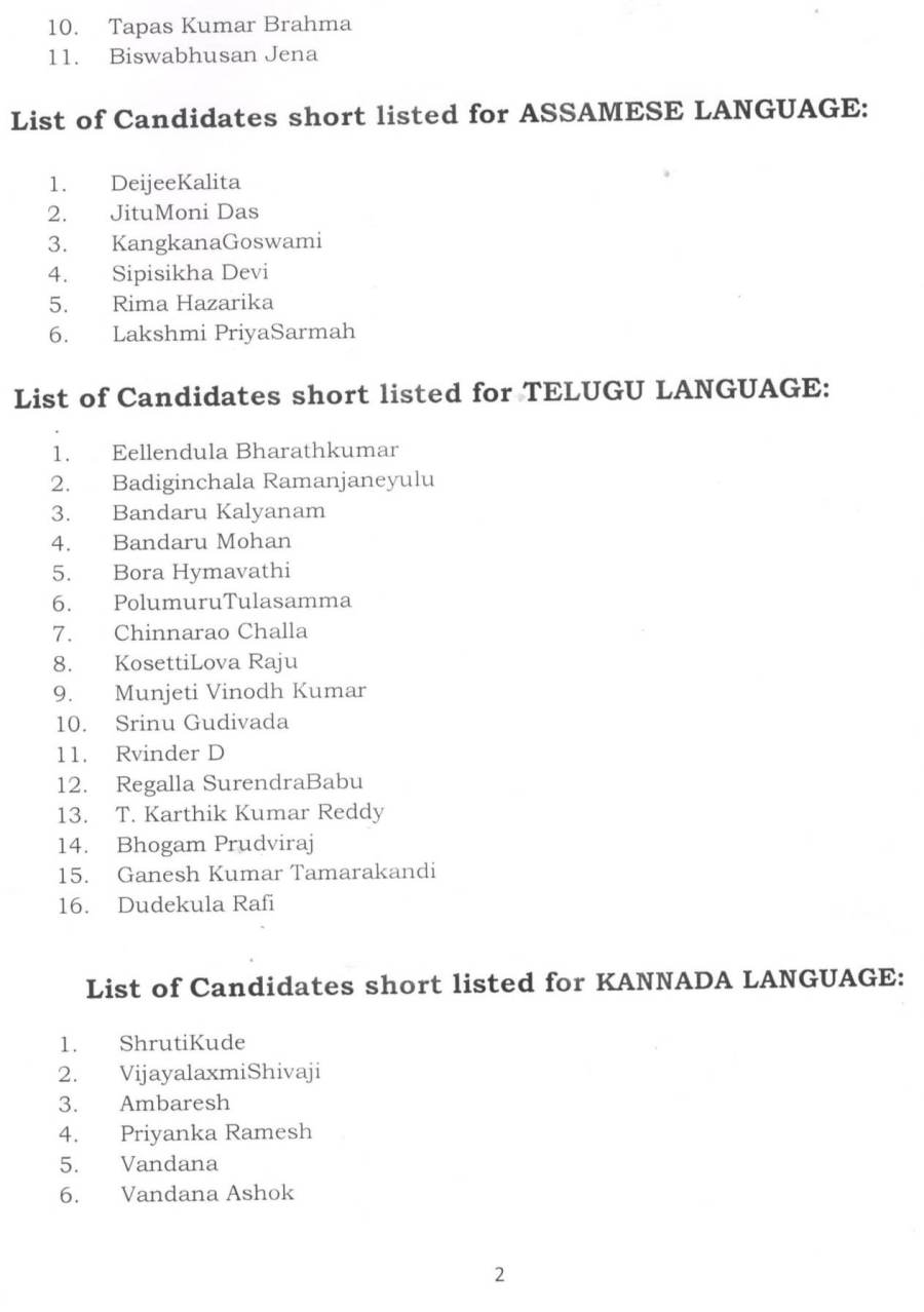 Applicants short list for LIS Interns Interview-2