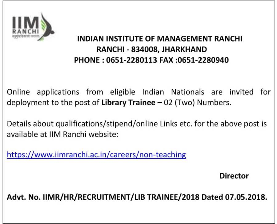Advertisement  for the Post of  Library Trainee - 2018-1.jpg