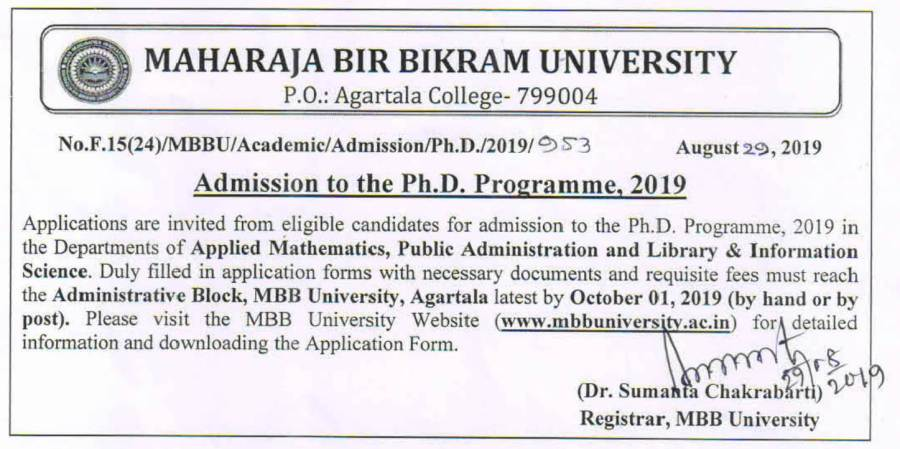 Admission Notification  to the Ph.D. Programme, 2019-1.jpg