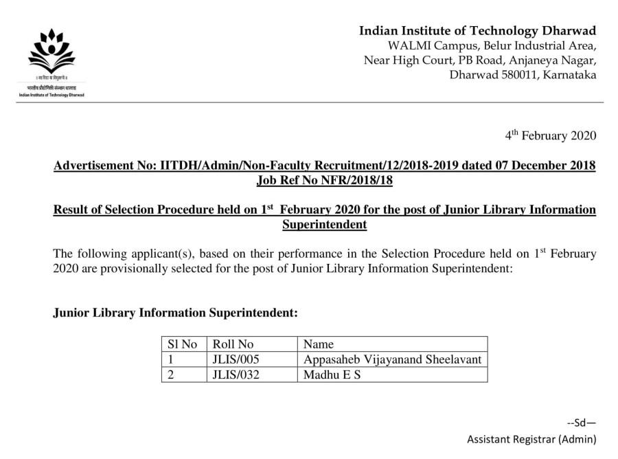 IIT Dharwad JLIS Result 04.02.2020-1